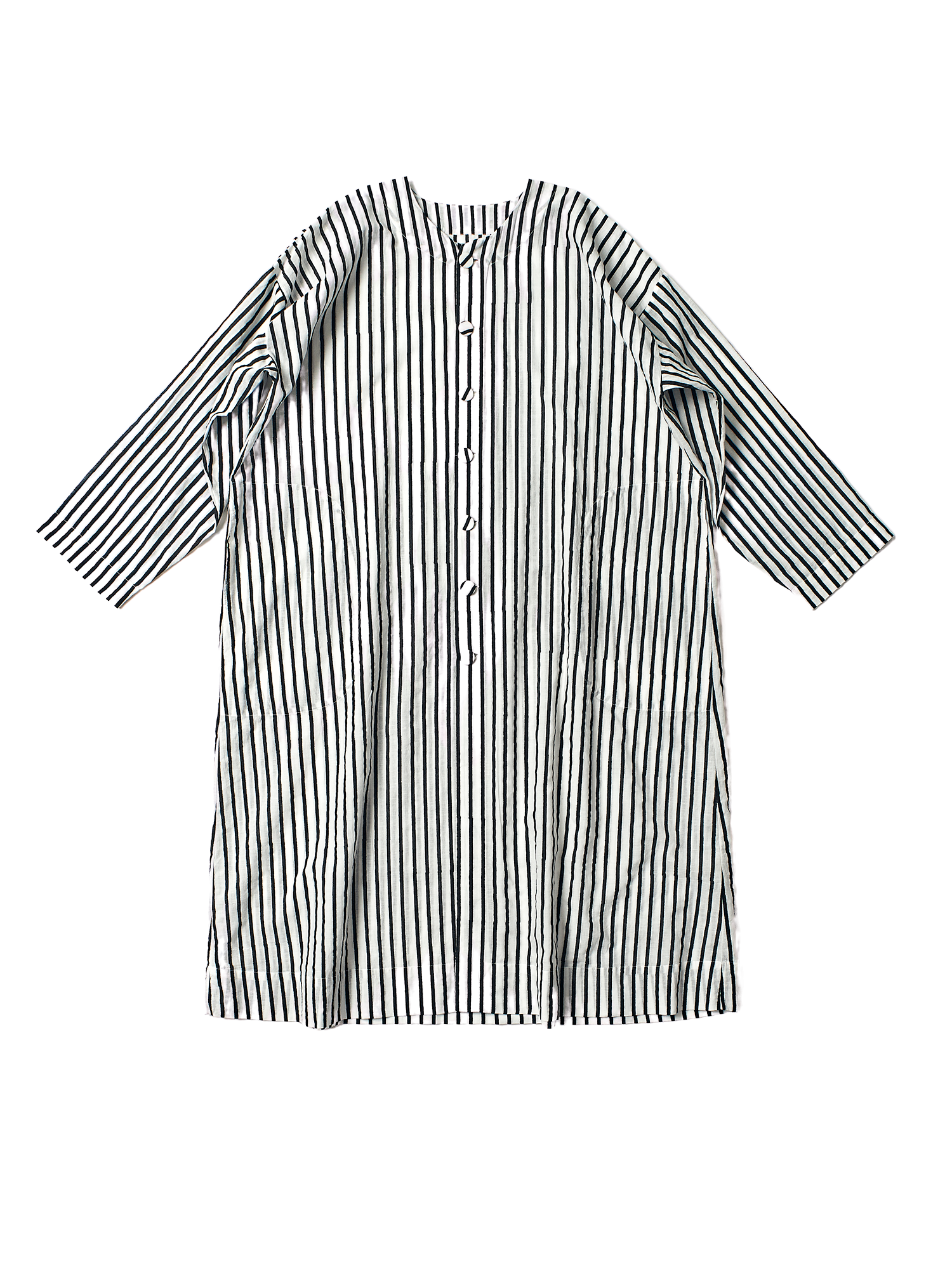 black and white stripe khadi cotton square long coat