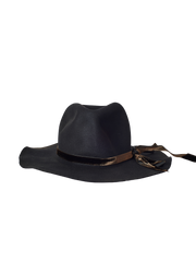 black rabbit fur felt wide brim hat