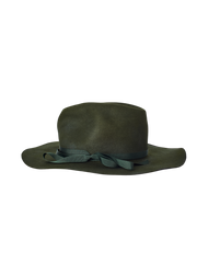 green rabbit fur felt wide brim hat