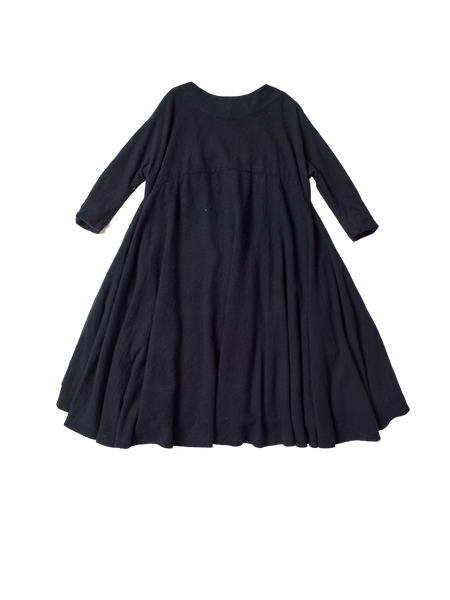 black navy cashmere generous long sleeved birch dress