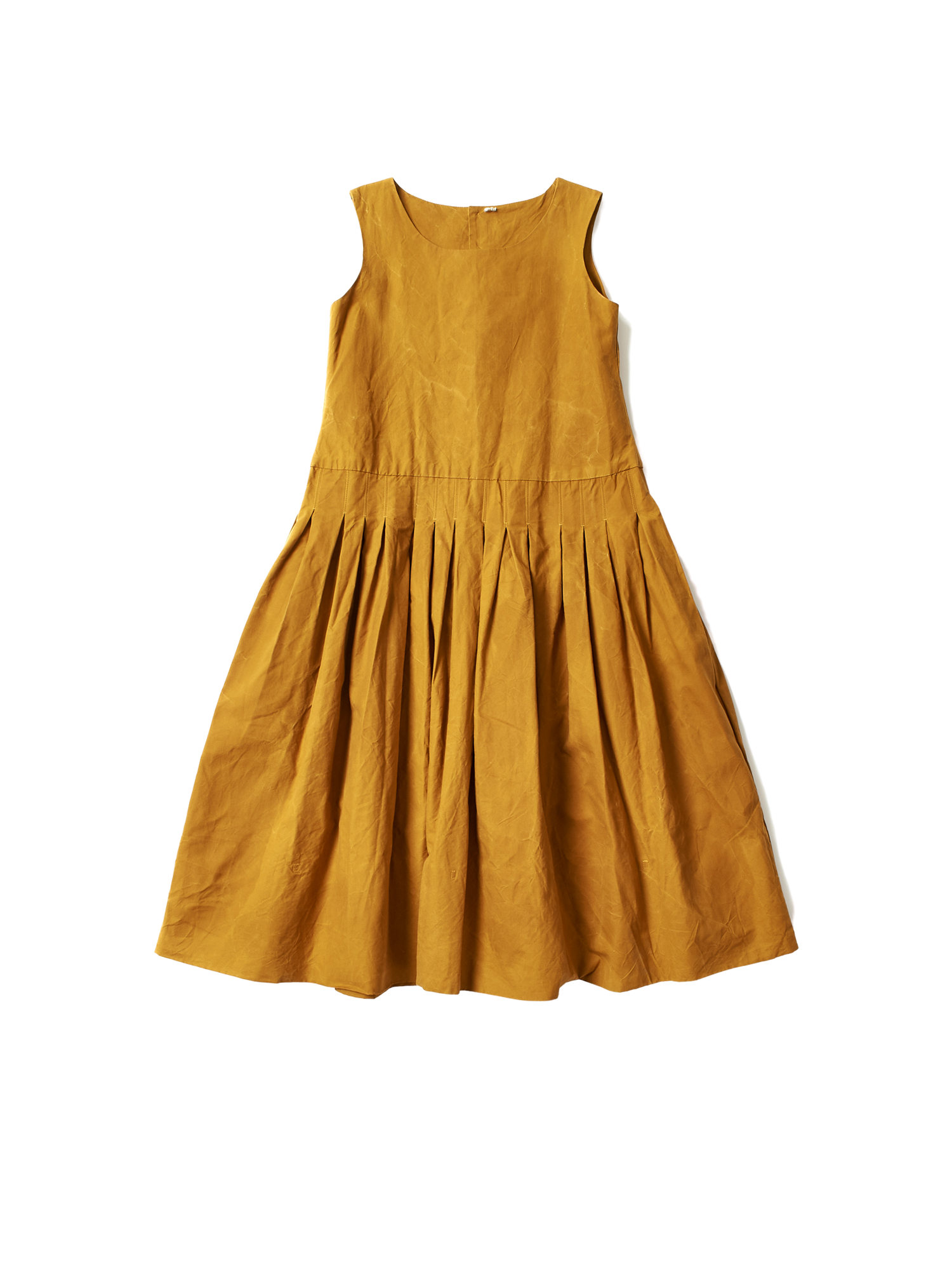 mustard yellow cotton drop waist t coco dress with button down back