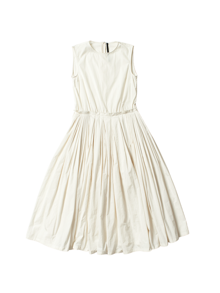 white satin gathered apron dress