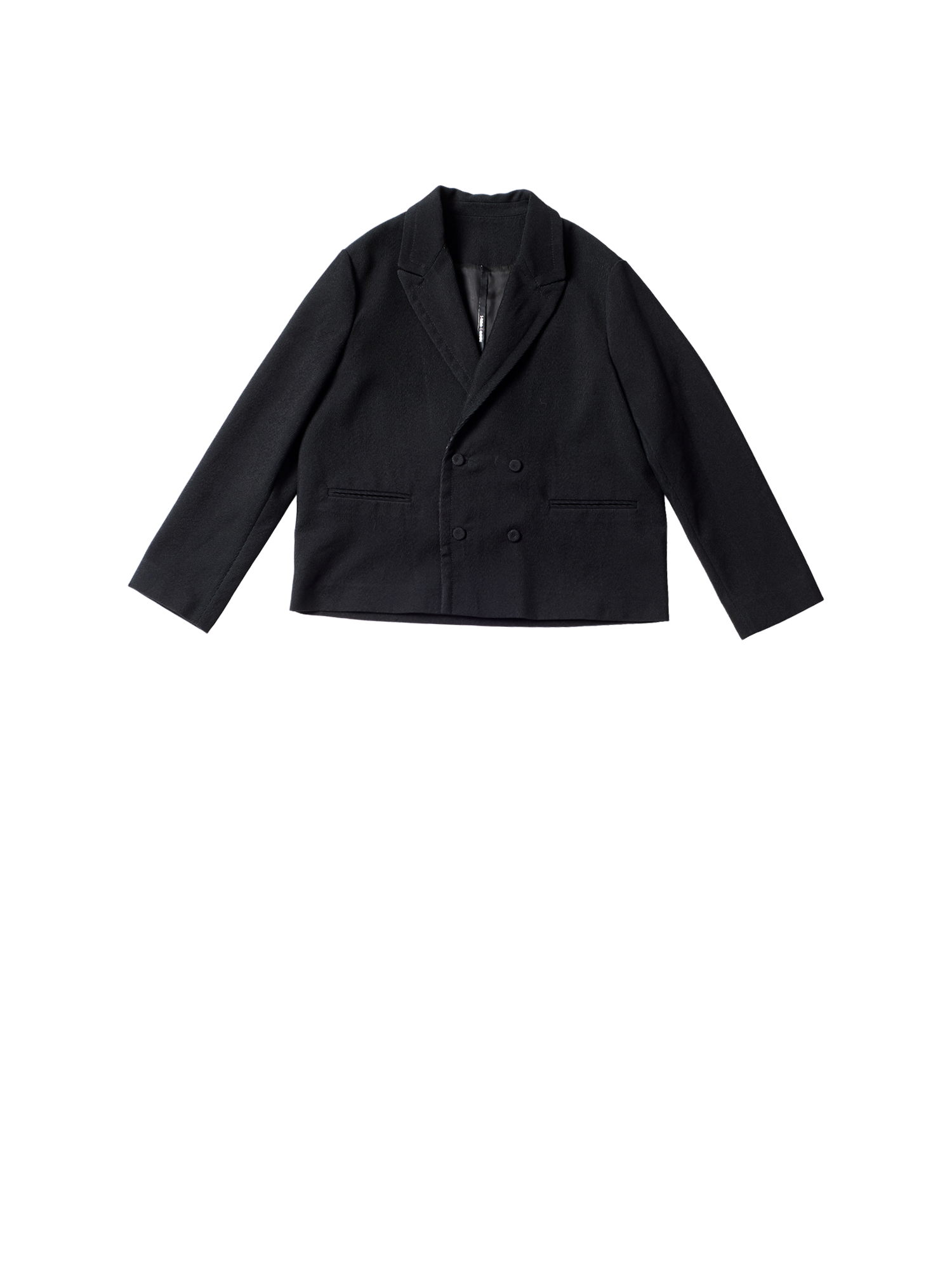 black woven twill double breasted jacket
