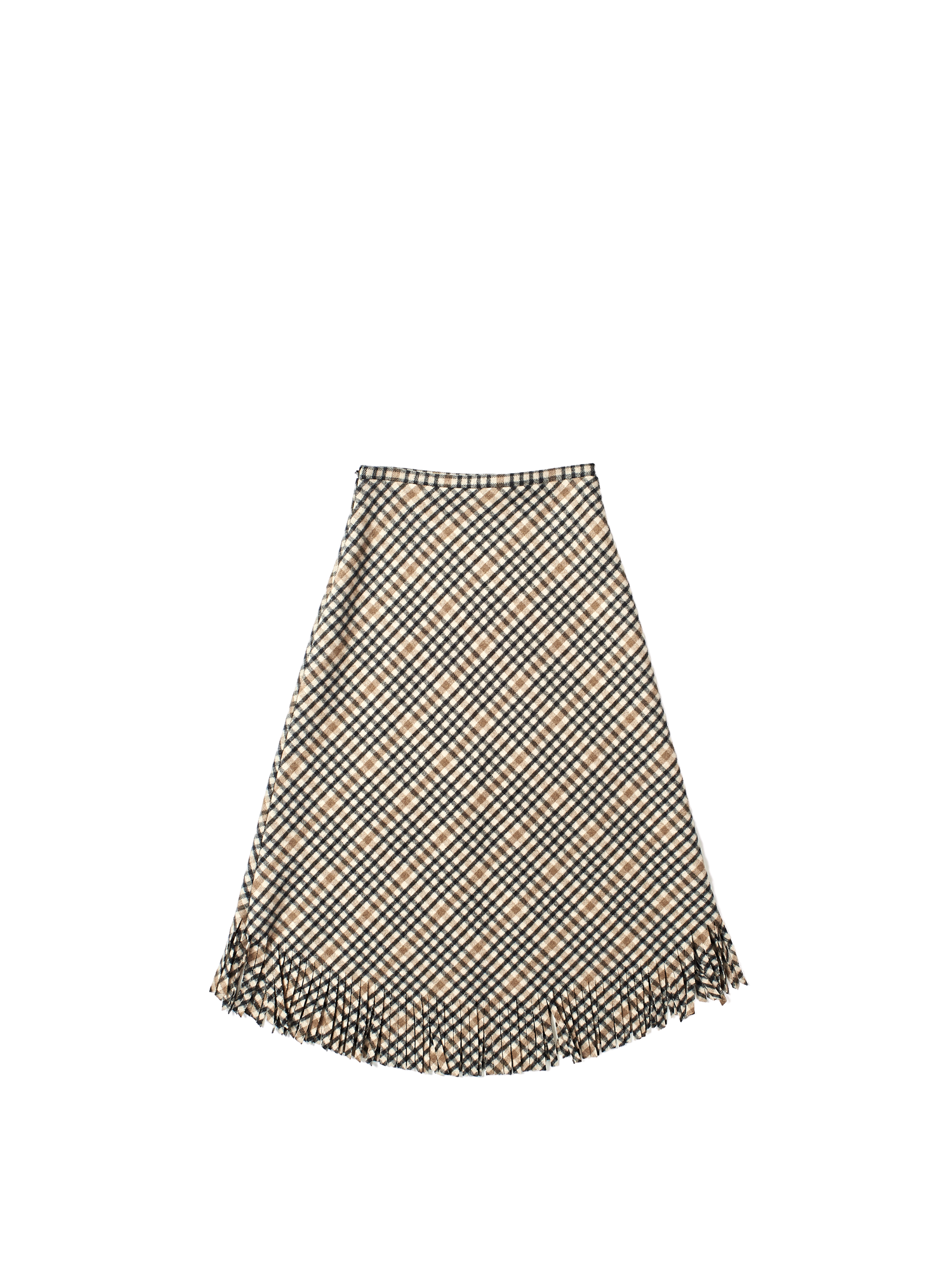 tartan check wool fringe skirt