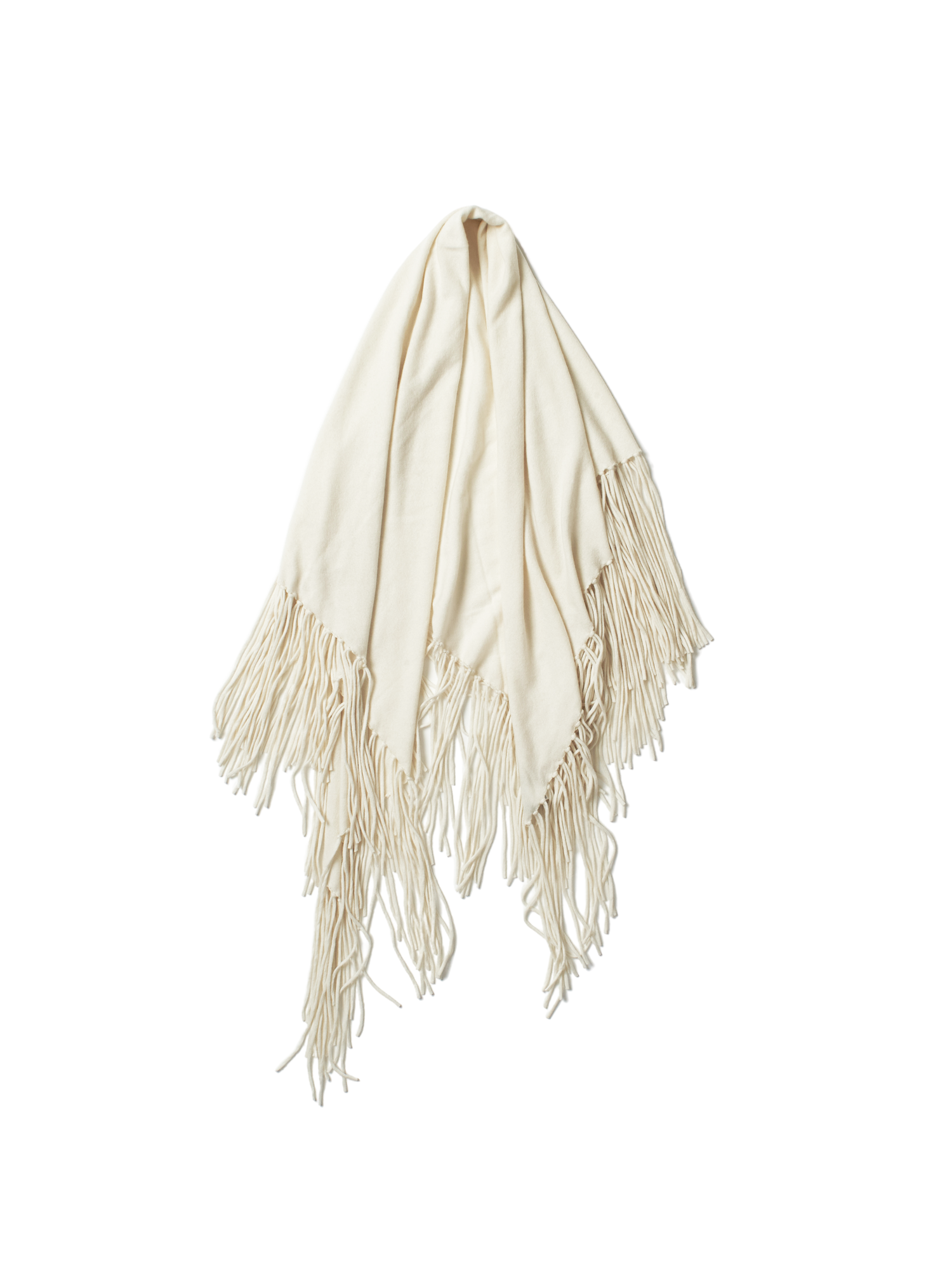 white triangular abbott scarf with long tassle fringe