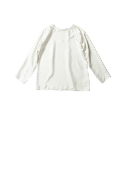 white silk twill long sleeve loose fit botero top