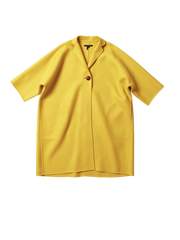 yellow double faced wool one button carra coat