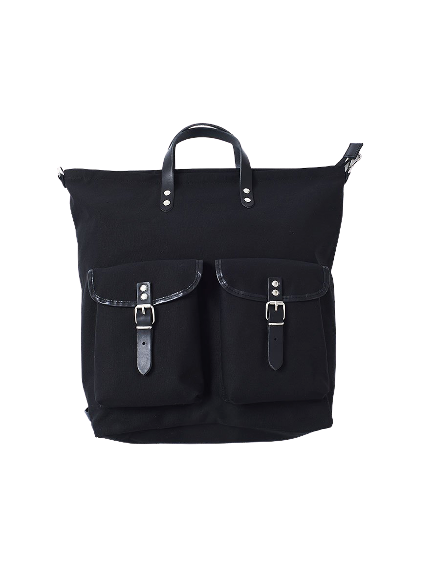 black classic canvas rucksack with leather fastenings and straps