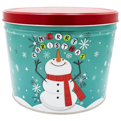 2 Gallon Christmas Tins Cheery Snowman Popcorn