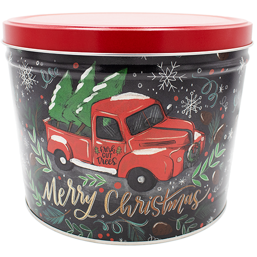 2 Gallon Christmas Tins Tree Farm Truck Popcorn