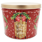2 Gallon Christmas Tins Warm Winter Wishes Popcorn
