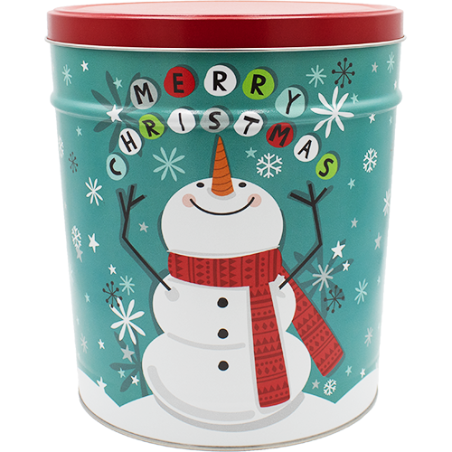 3.5 Gallon Christmas Tins Cheery Snowman Popcorn