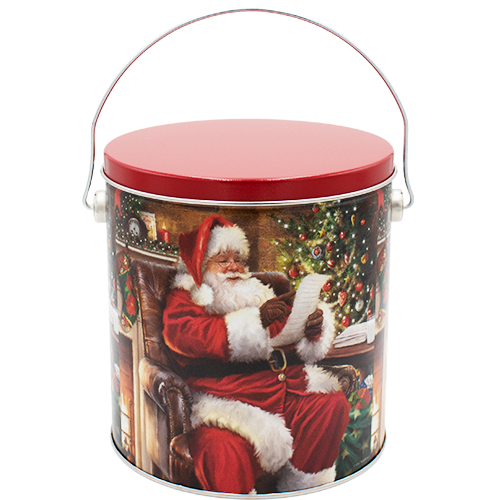 1 Gallon Christmas Tins Checking It Twice Popcorn