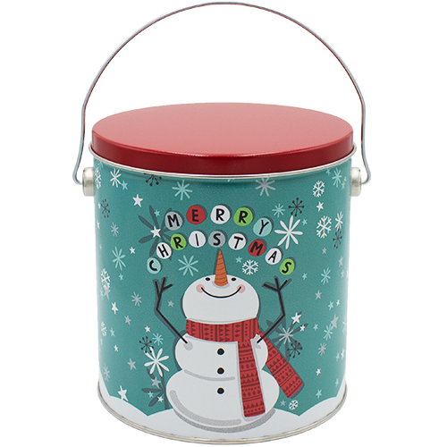 1 Gallon Christmas Tins Cheery Snowman Popcorn