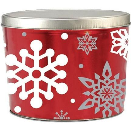 2 Gallon Christmas Tins Let It Snow Popcorn