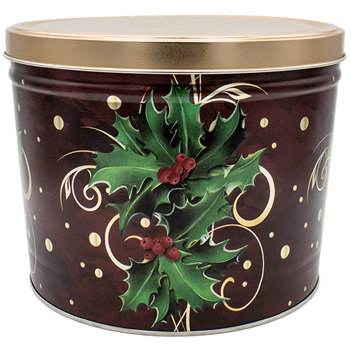 2 Gallon Christmas Tins Boughs Of Holly Popcorn