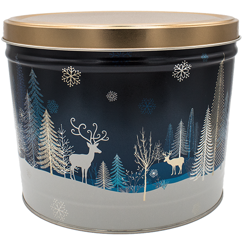 2 Gallon Christmas Tins Crystal Evening Popcorn