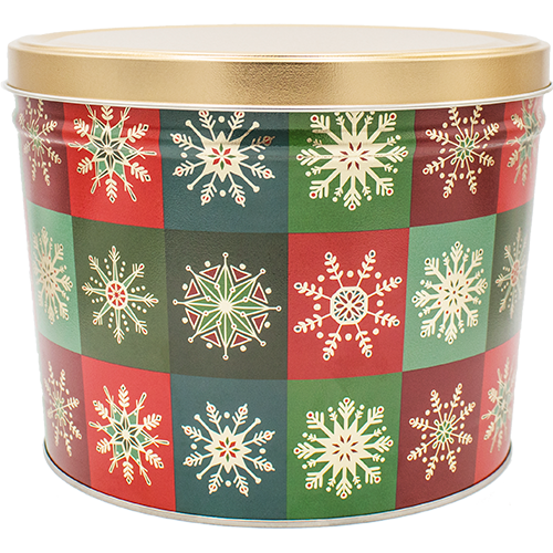 2 Gallon Christmas Tins Glistening Gold Popcorn