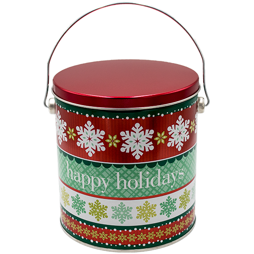 1 Gallon Christmas Tins Holiday Cheer Popcorn