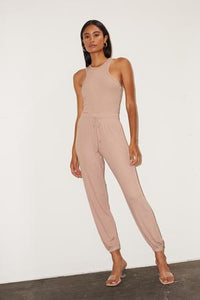 Core Ribbed Jogger- Nude