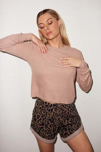Ribbed Long Sleeve Crew - Nude