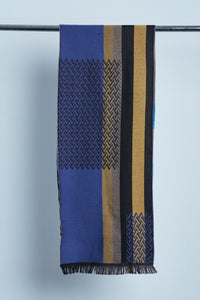 Woven Wool Scarf- Blue & Yellow