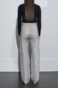 High Waisted Leather Pant- Chalk Crackle