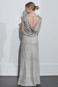 Hi Low Leather Dress- Chalk Crackle