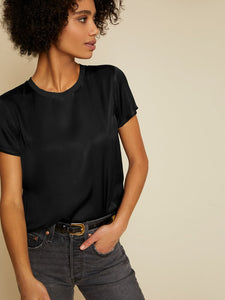 Marie Sateen Boxy Crop - Black