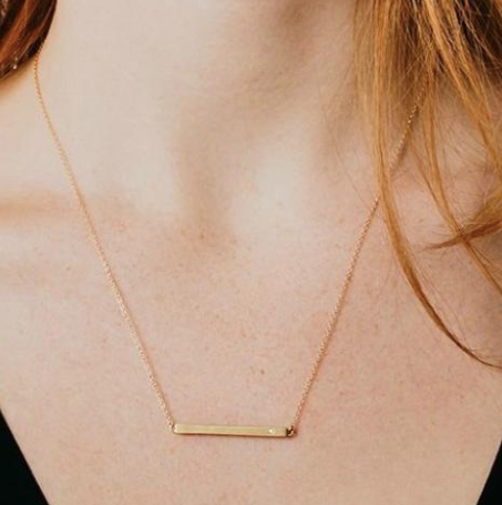 14K Bar Necklace