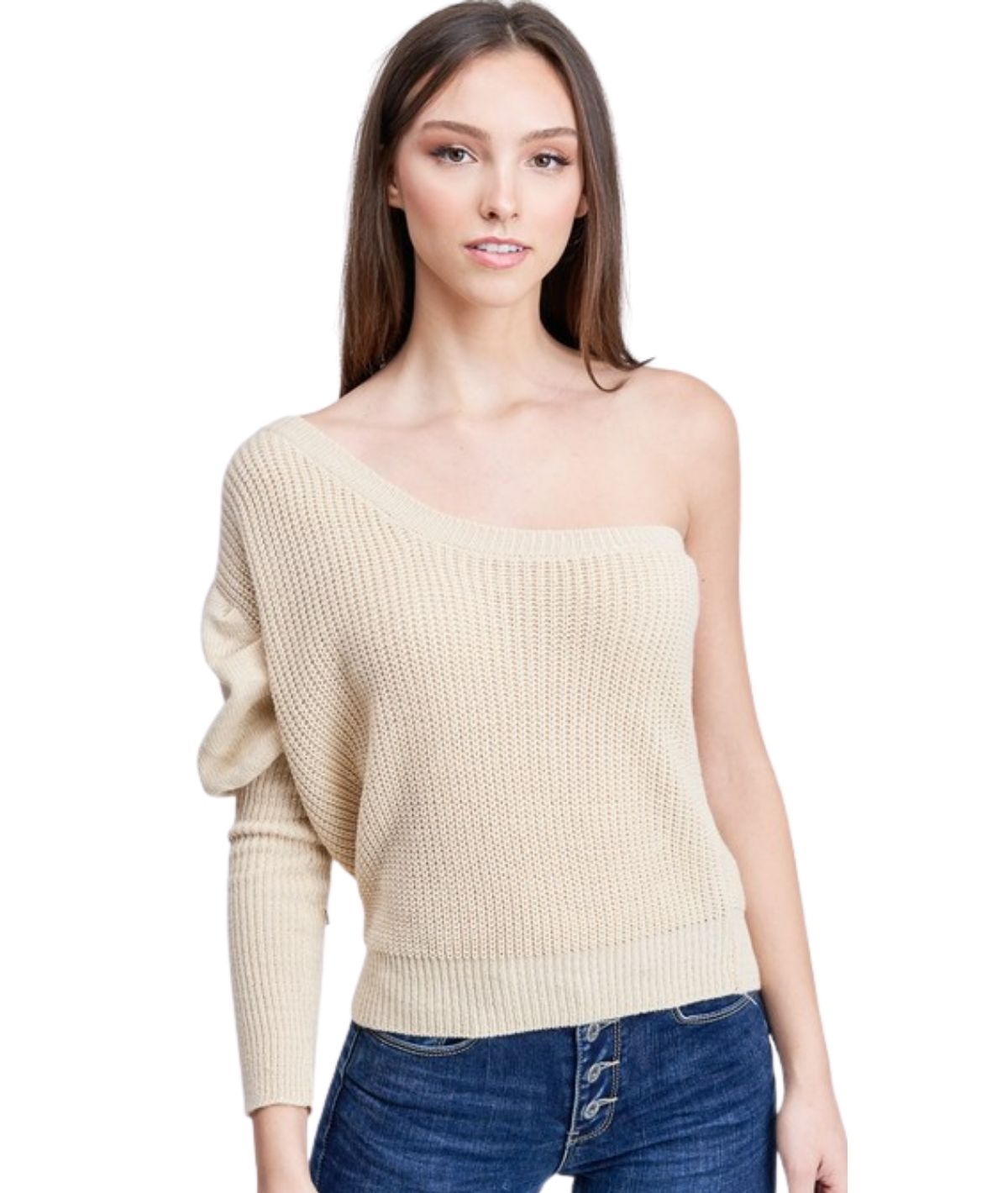 One Shoulder Ribbed Sweater - Oatmeal