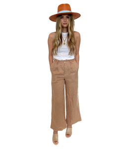Linen Tailored Wide Leg Pant- Almond