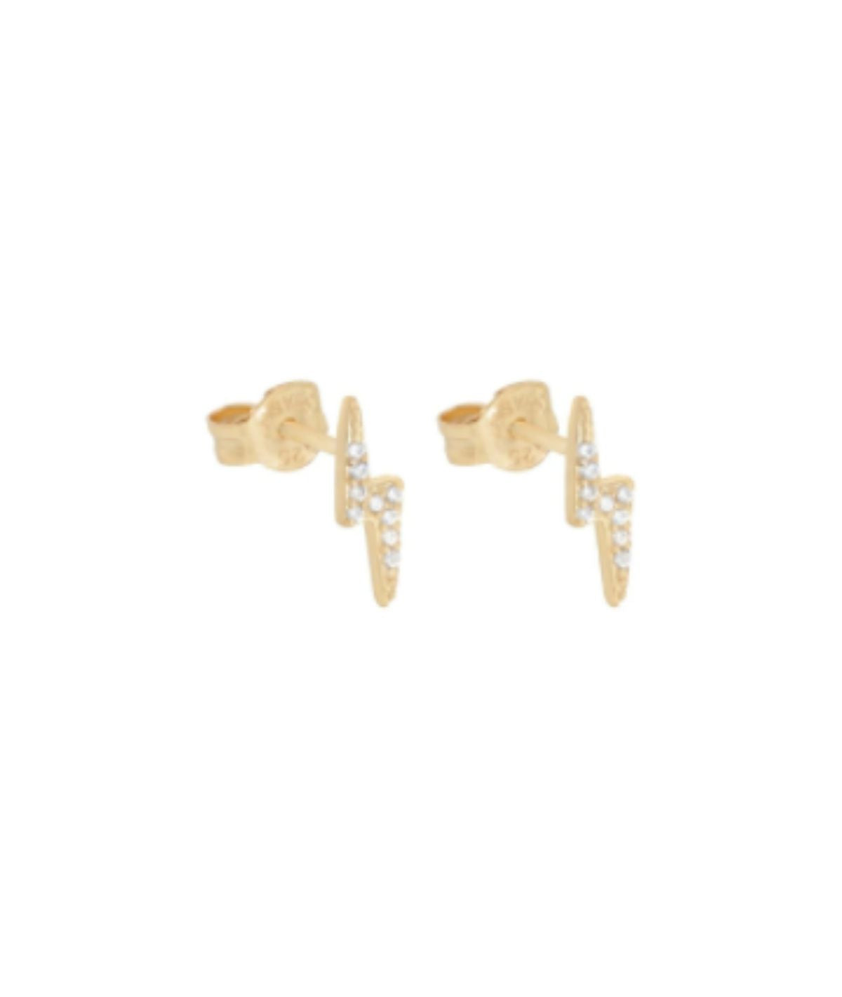 Lightning Pave Stud- Gold