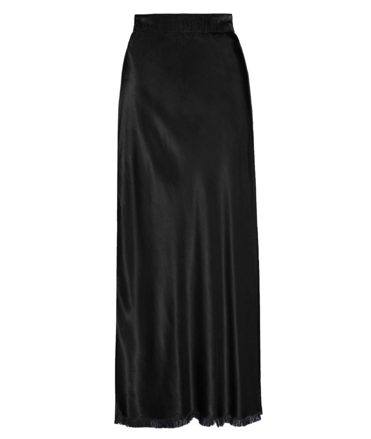 Maribel Bias Skirt w/ Slit - Black
