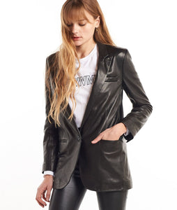 Leather Blazer- Black