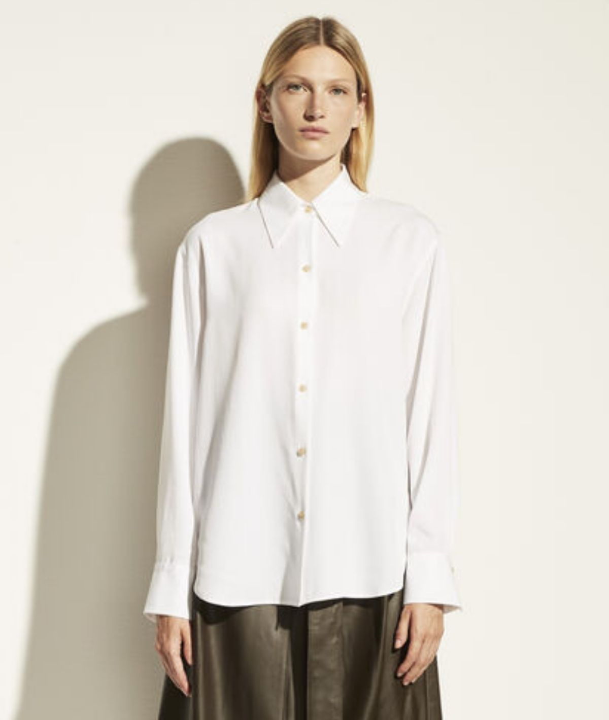Shaped Collar Top - White