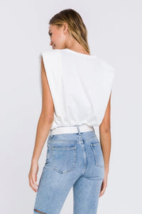 Shoulder Pad Tee - White