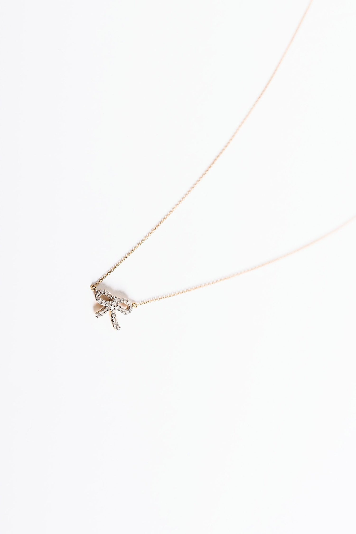 Tiny Pave Bow Necklace