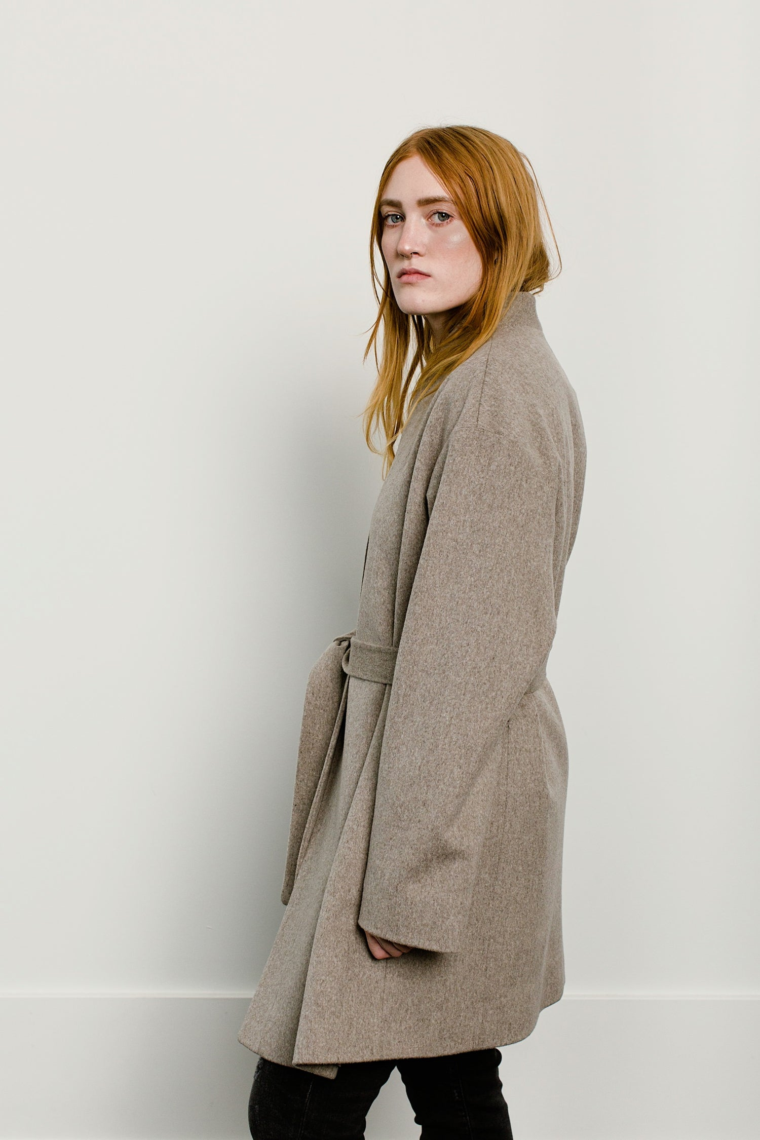 Belted Stand Collar Coat- Oatmeal