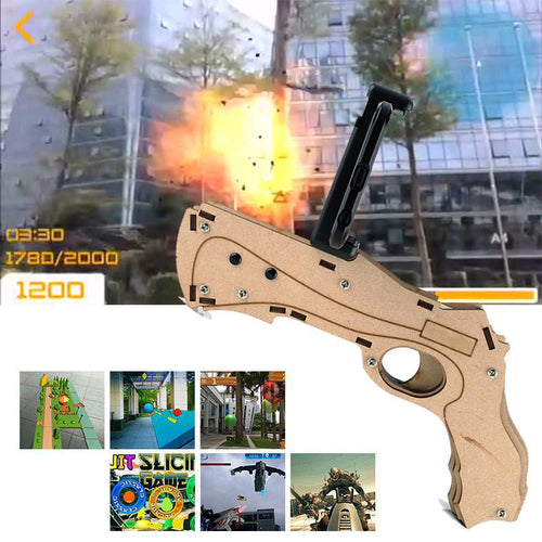 Augmented Reality 3D AR GUN – Portable & Eco-Friendly Wooden Toy Gun Connected With Cell Phone (IOS/Andorid) Via Bluetooth
