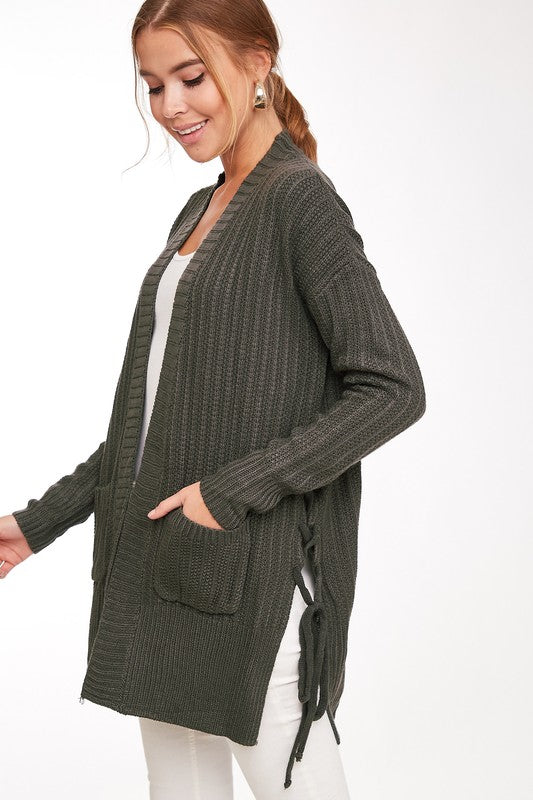 Tied Down Cardigan-Charcoal & Navy