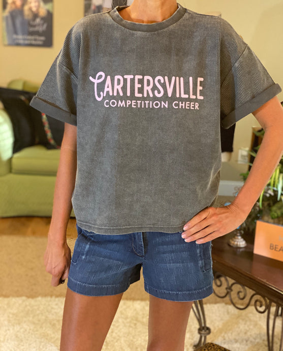 Corded throwback tee- Cartersville Competition Cheer