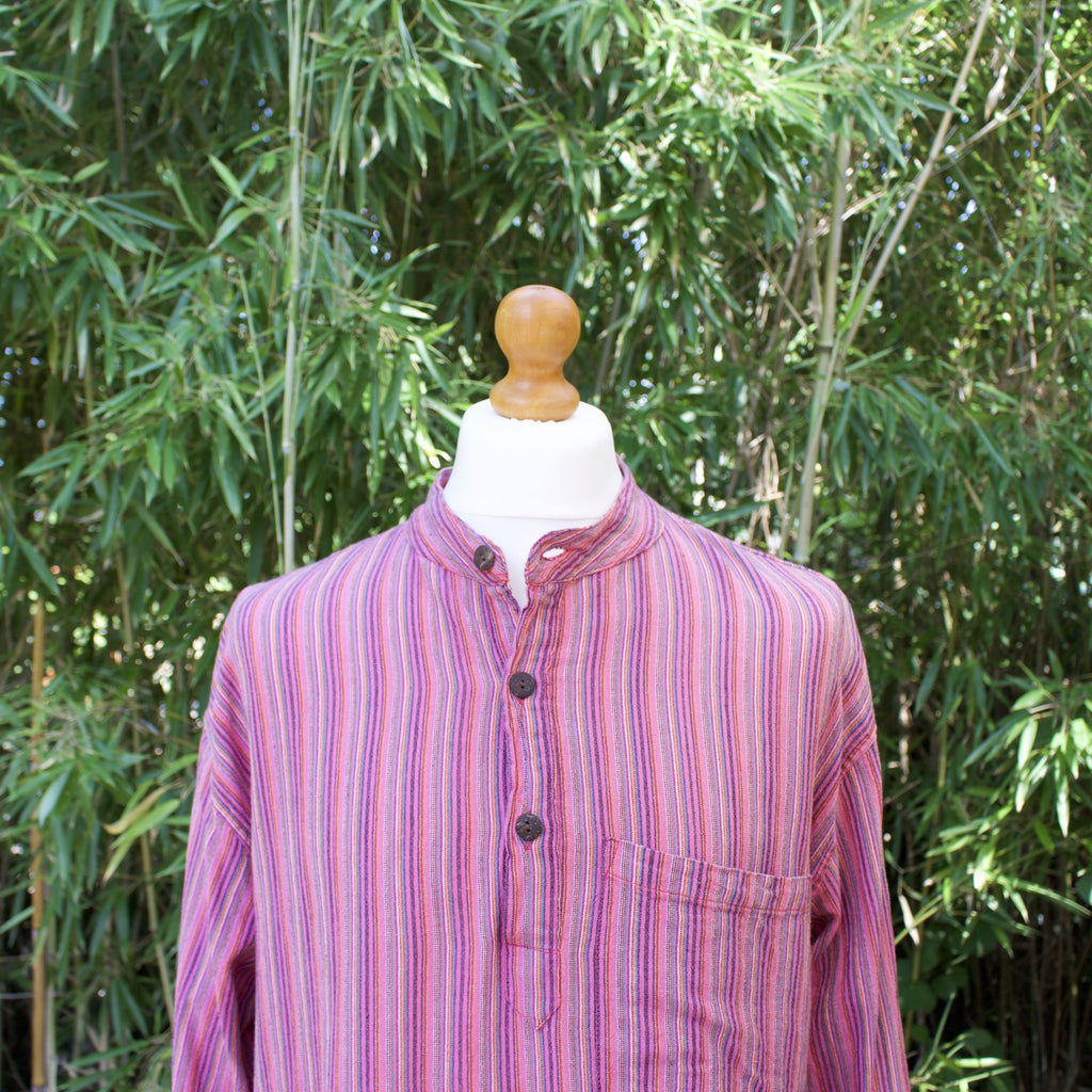 Vintage Quarter Button Grandad Collar Shirt