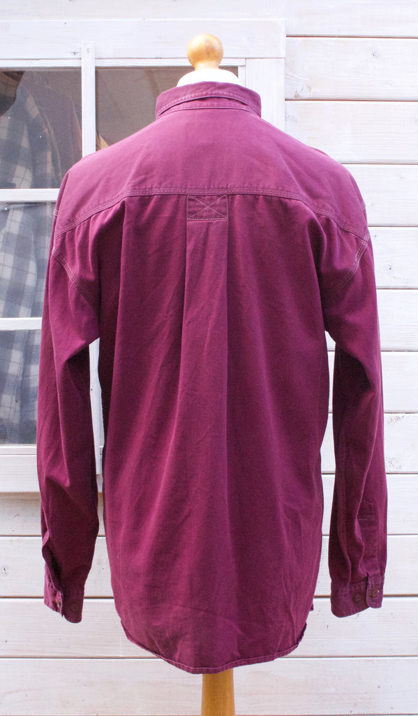 Vintage Long Sleeved Burgundy Button Down Shirt