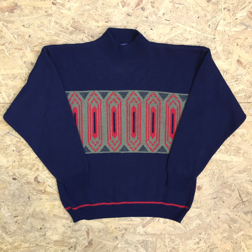 Vintage Crew Neck Wool Blend Sweatshirt - M