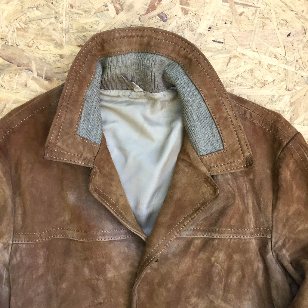 Vintage Button Down Suede Jacket - L