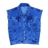 Vintage Sleeveless Denim Jacket - M