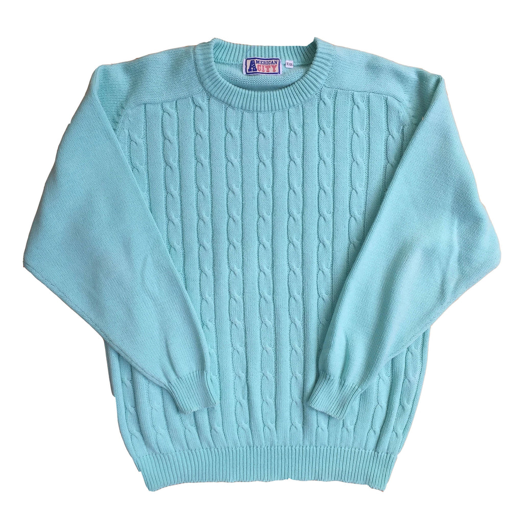 Vintage Cable Knit Crew Neck Sweatshirt - M