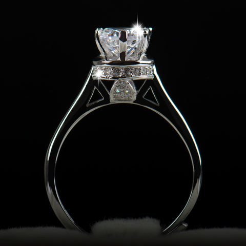 1 Carat Art Deco Elegant Engagement Ring / Promise Ring / Designer Ring, Round Cut Man Made Diamond -  Solid 925 Sterling Silver Rings