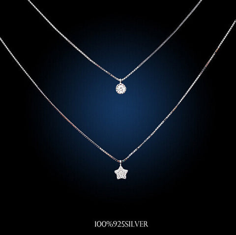 Real 925 sterling silver multilayer necklaces comes with solitaire real 925 sterling silver multilayer necklaces comes with solitaire and star shaped pendants made with mozeypictures Image collections